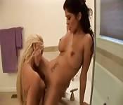 Lesbiennes à gros seins et leurs godes dans la salle de bain