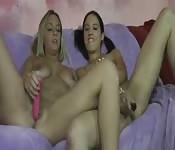 Deux teens lesbiennes et leurs jouets